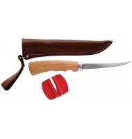 Filetovací nůž s dřevěnou ručkou a pouzdrem (čepel 10cm)